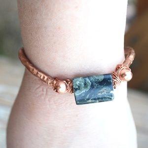 Kambaba Jasper Solid Copper Cuff Bracelet Artisan